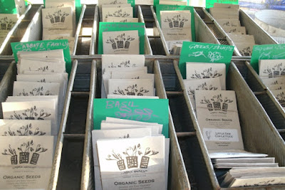 Evergeen Brick Works garden center organic seed packets by garden muses: a Toronto gardening blog