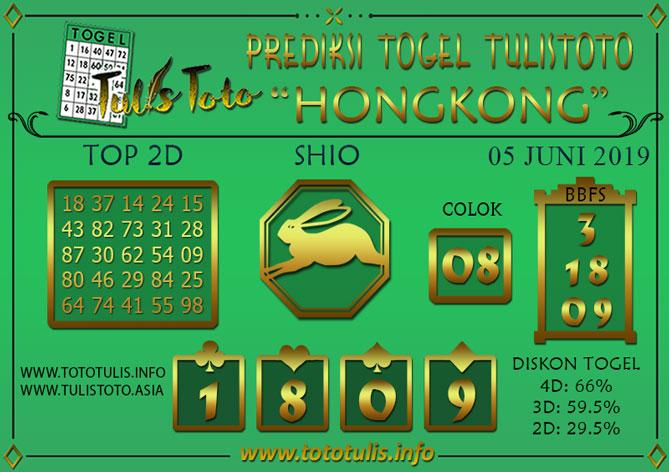 Prediksi Togel HONGKONG TULISTOTO 05 JUNI 2019
