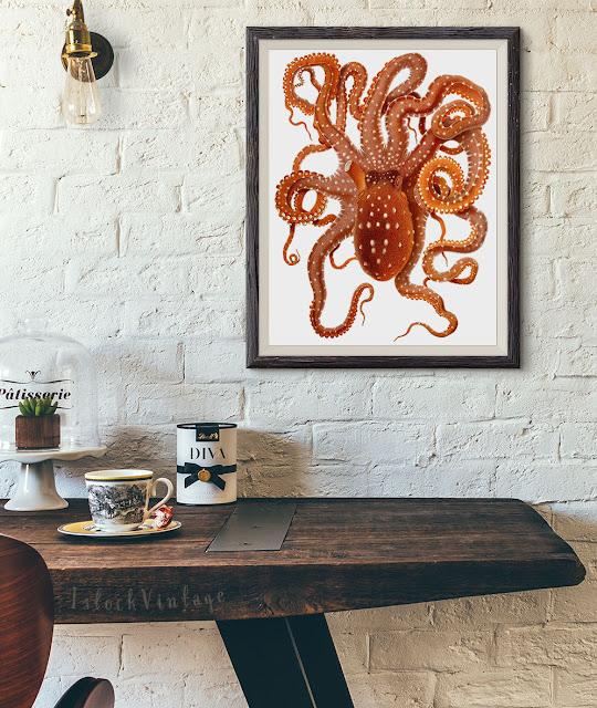 Octopus vintage illustration download clipart Etsy