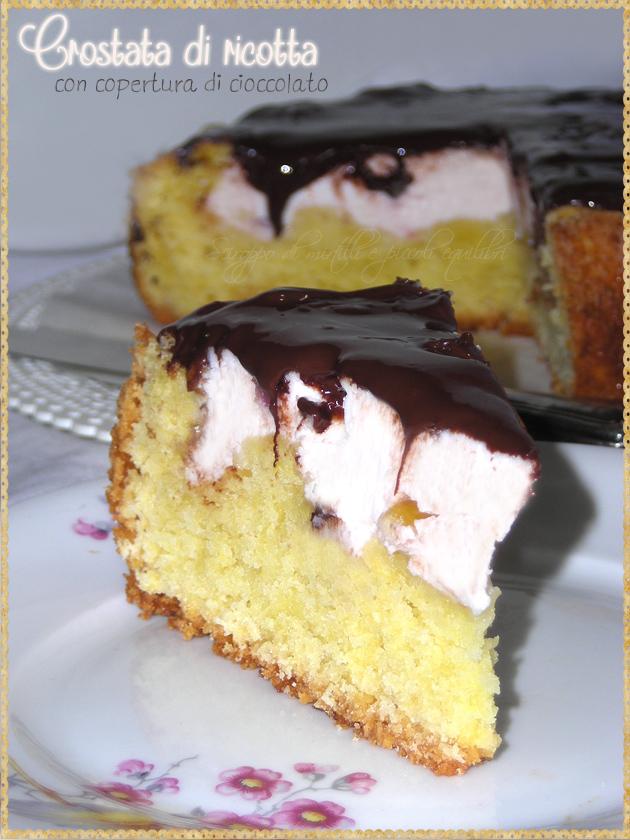 Crostata di ricotta e canditi con copertura di cioccolato