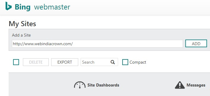 add your website in bing webmaster tool