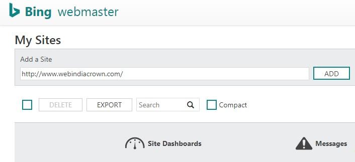 add your website in bing webmaster tool