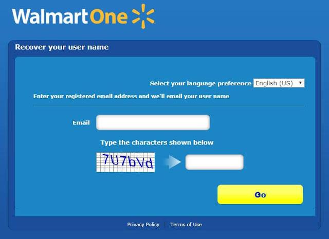 Walmartone login username recover