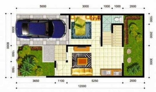 Gambar Denah Rumah Minimalis Ukuran 6x12