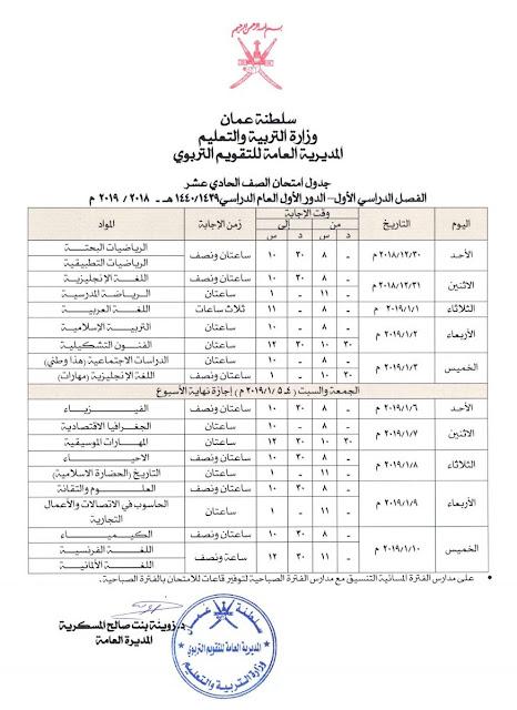 جدول امتحان الصف الحادي عشر الفصل الاول الدور الاول