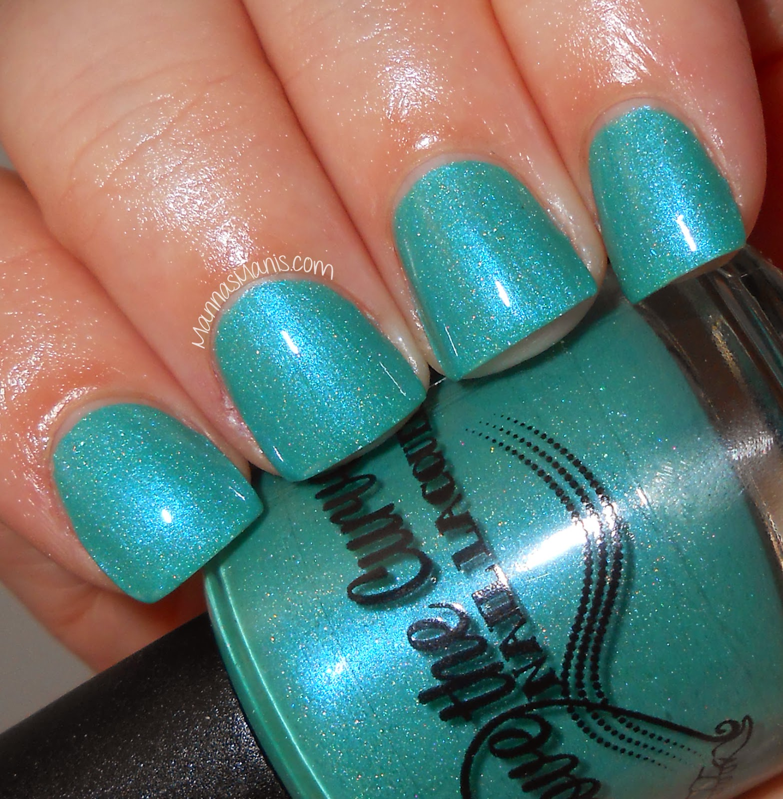 above the curve kahuna, teal holographic indie nail polish