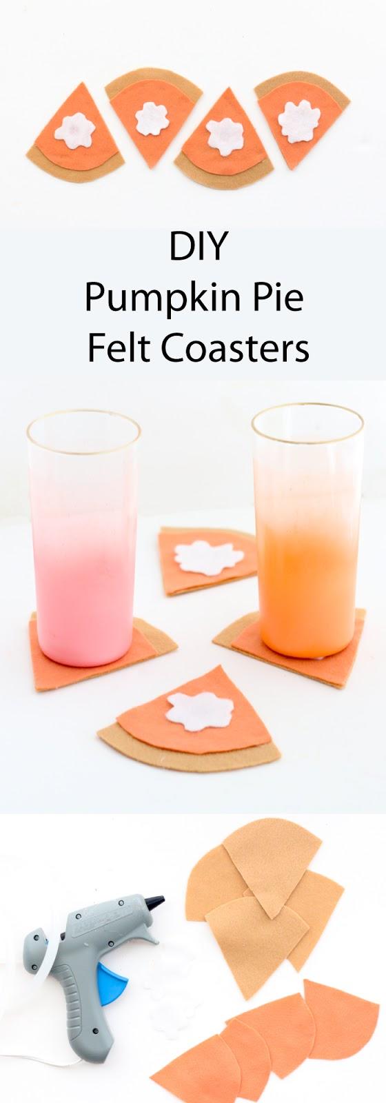 DIY Pumpkin Pie Felt Coasters for Thanksgiving dinner craft idea - easy quick craft - last minute craft - Thanksgiving craft idea