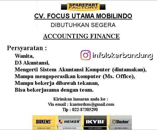 Lowongan Kerja CV. Focus Utama Mobilindo Bandung Januari 2018