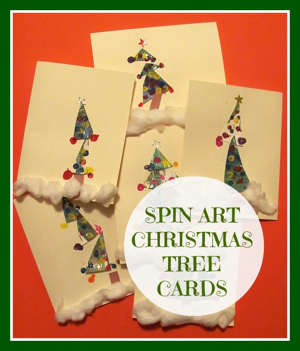 O Christmas Tree Christmas Cards: The Chocolate Muffin Tree: Spin Art Christmas Tree Cards