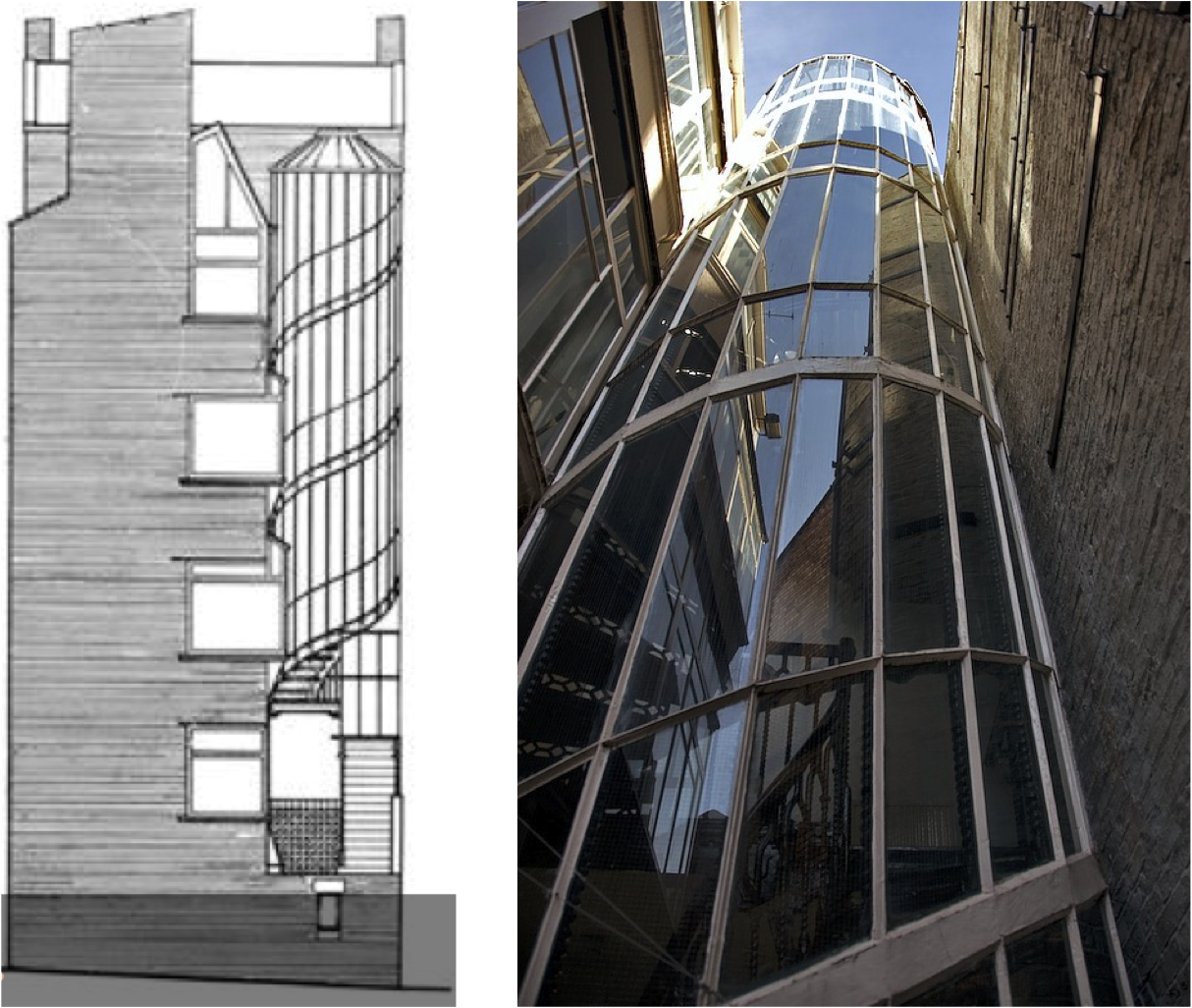 Front Elevation Of Spiral Staircase : Façades confidential is oriel chambers the first curtain