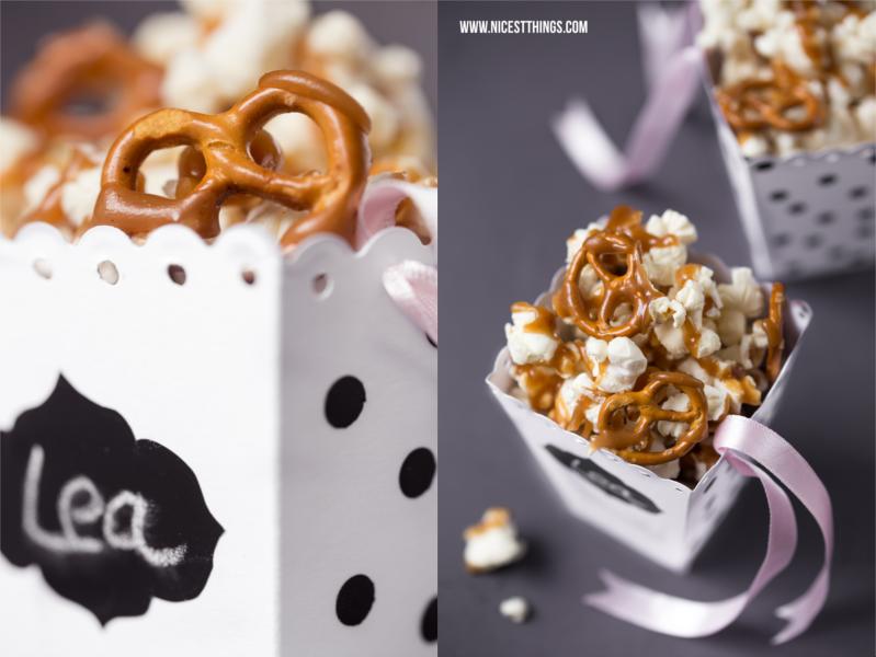 DIY Popcorn Box basteln Karamell Popcorn Rezept
