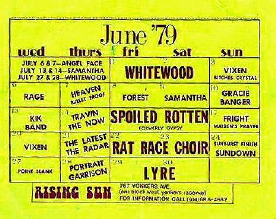 The Rising Sun band line up June 1979