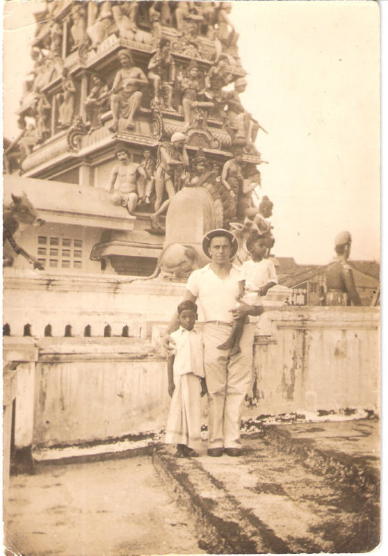 Man and Children Posing outside a Hindu Temple - India 1937