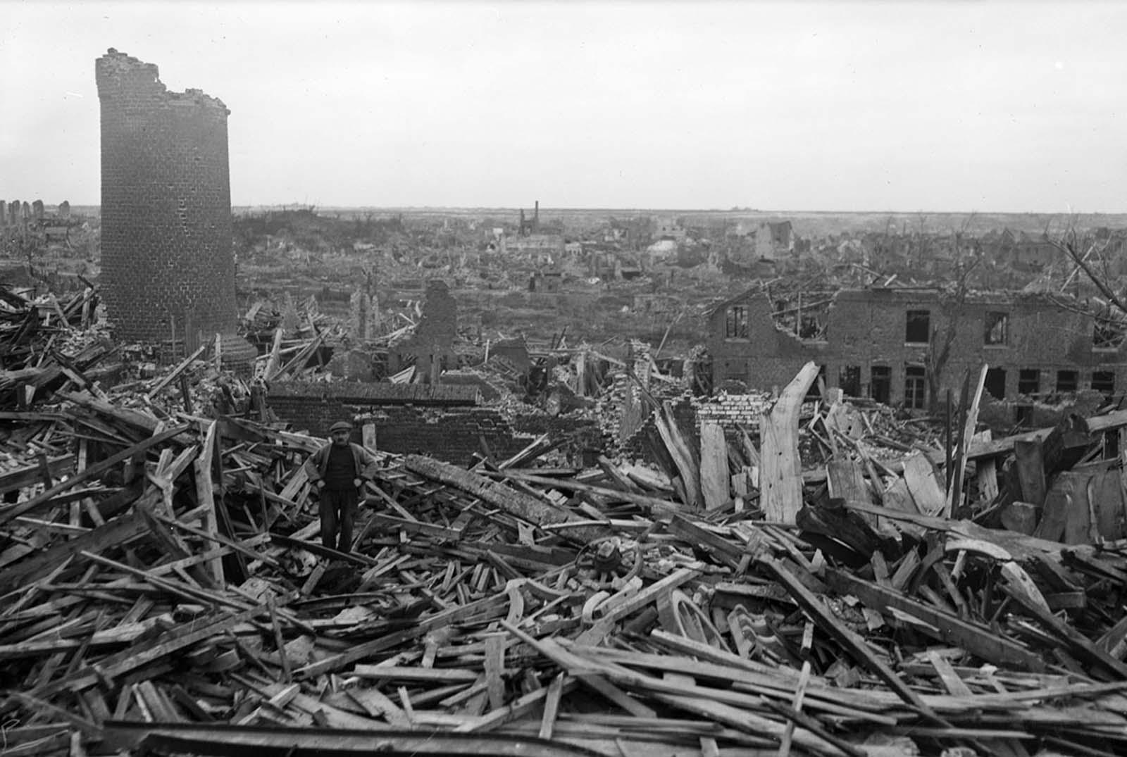 An overview of war-damaged Lens, France, on April 11, 1919.