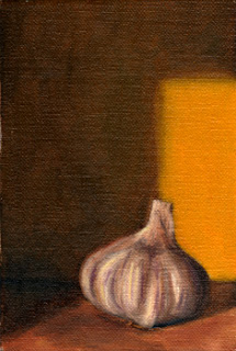 Oil painting of a garlic bulb in front of a yellow background.