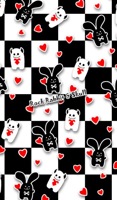 Rock rabbit and skull / checker heart