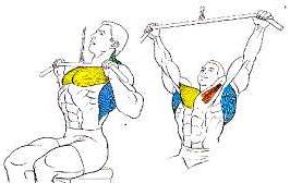 Lat pull towards the chest.