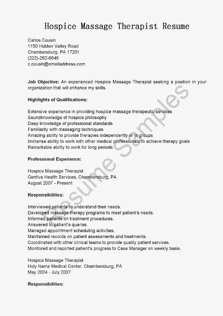 Great Sample Resume Resume Samples Hospice Massage Therapist