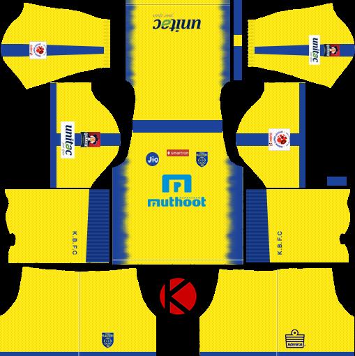 Kerala Blasters FC 2018 Kit - Dream League Soccer Kits