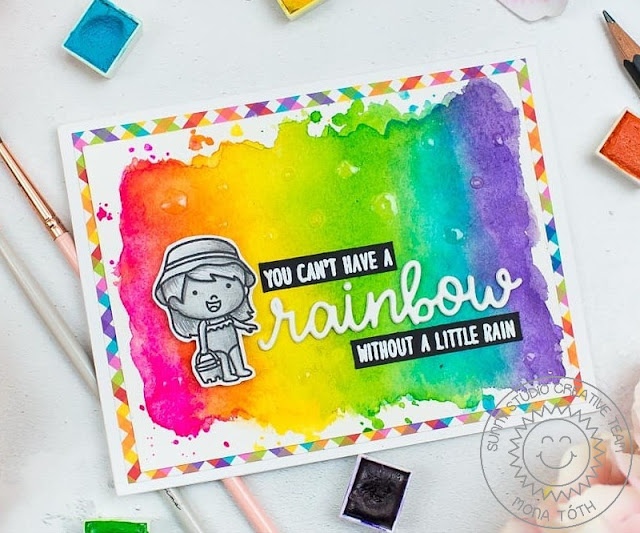 Sunny Studio Stamps: Coastal Cuties You Can't Have A Rainbow Without A Little Rain Watercolor Card by Mona Toth