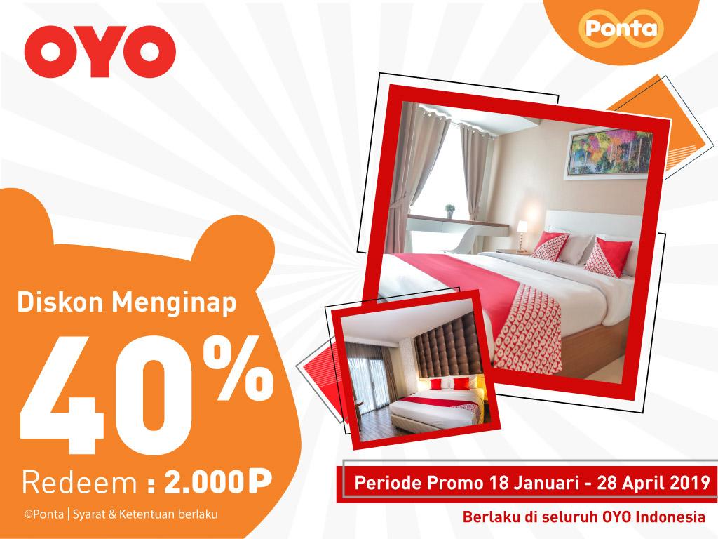 #PONTA - #Promo Diskon Menginap 40% di OYO Rooms Pakai 2000 Poin (s.d 28 Apr 2019)