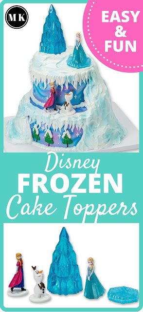 Disney Frozen Theme Cake Toppers for a Kids Birthday Party - What girl wouldn't love these? They are so cute. They're also an inexpensive and easy decoration idea, Mom! Elsa, Anna and Olaf look awesome on the cake, and then the kids will all want to keep them as a toy. Check out the light up feature too, so much fun!