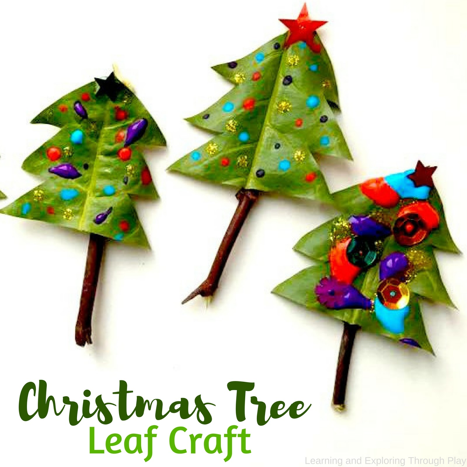 Learning and Exploring Through Play: Leaf Christmas Tree Craft