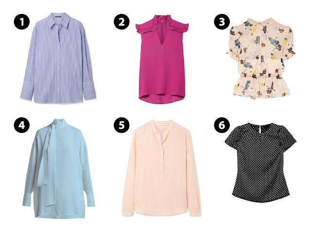 Шесть блузок различного кроя