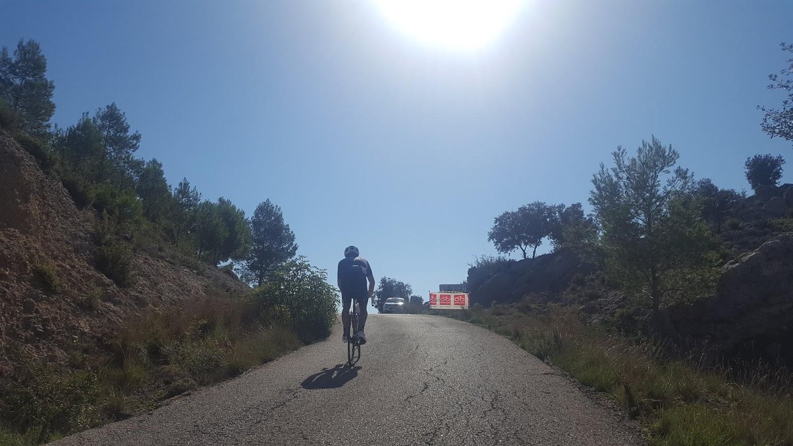 Climbing by bike in Valencia, Spain