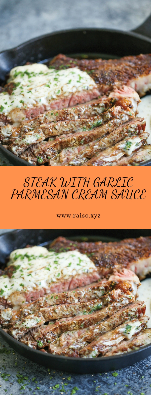 STEAK WITH GARLIC PARMESAN CREAM SAUCE #dinner #maincourse #parmesan #steak