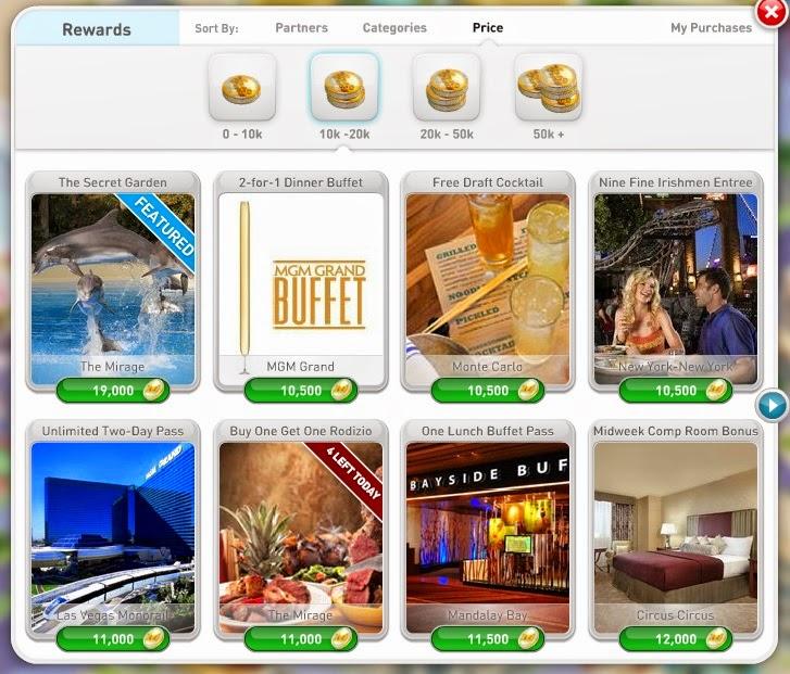myVegas Slots - alguns exemplos dos prêmios com 10000 a 20000 fichas.