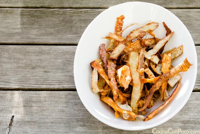 Como hacer en casa chips de verduras fritas