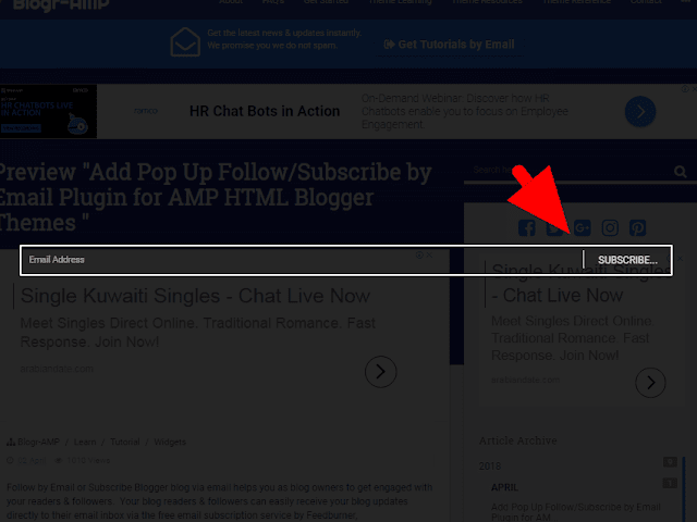 Install Follow by Email gadget with amp-lightbox Blogger Theme