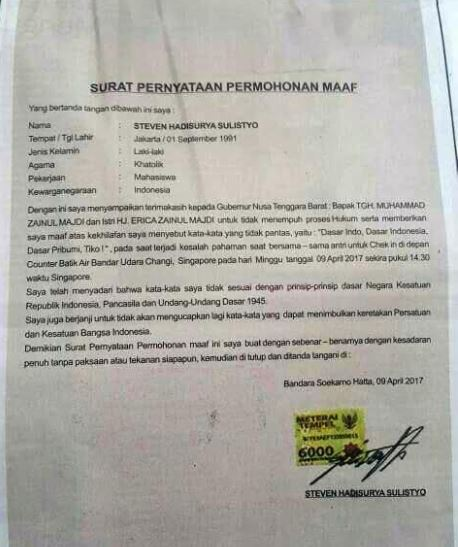 Surat Pernyataan Permohonan Maaf Resmi