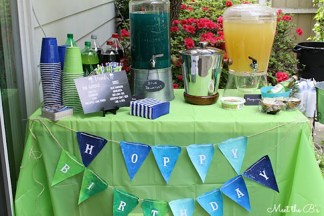 Blue and green surprise 30th birthday beer-b-q party!