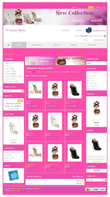 Free osCommerce 2.3.3 Template for Womens Shoes Store