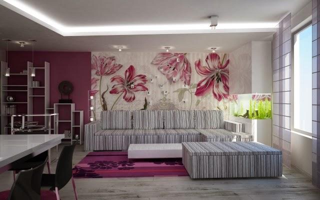 Sala decorada con mural