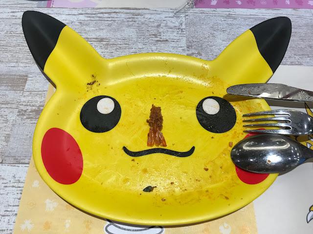 用餐完畢後可以選擇加價,把皮卡丘造型的餐盤帶回家喔!(瞧我吃的多乾淨)