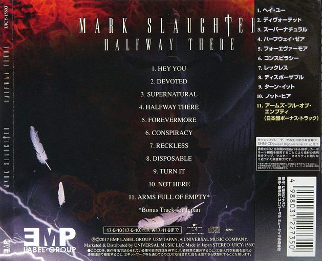 MARK SLAUGHTER - Halfway There [Japanese SHM-CD +1] (2017) back