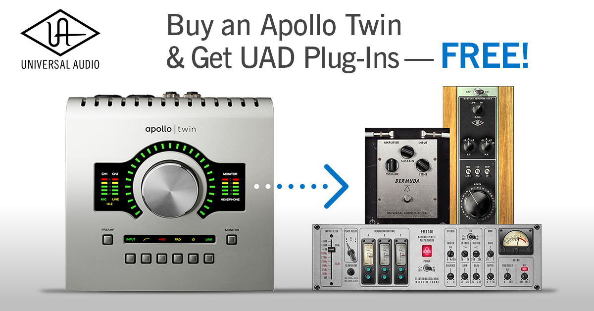 Buy an Apollo Twin & Get UAD Reverb, Preamp, and Guitar
