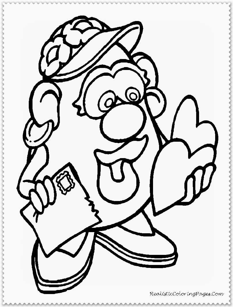 Valentine Cartoon Printable Kids Coloring Sheet