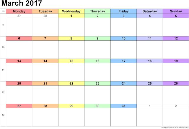 Calendar March 2017, 2017 March Calendar, Calendar 2017 March, Calendar for March 2017, 2017 Calendar March