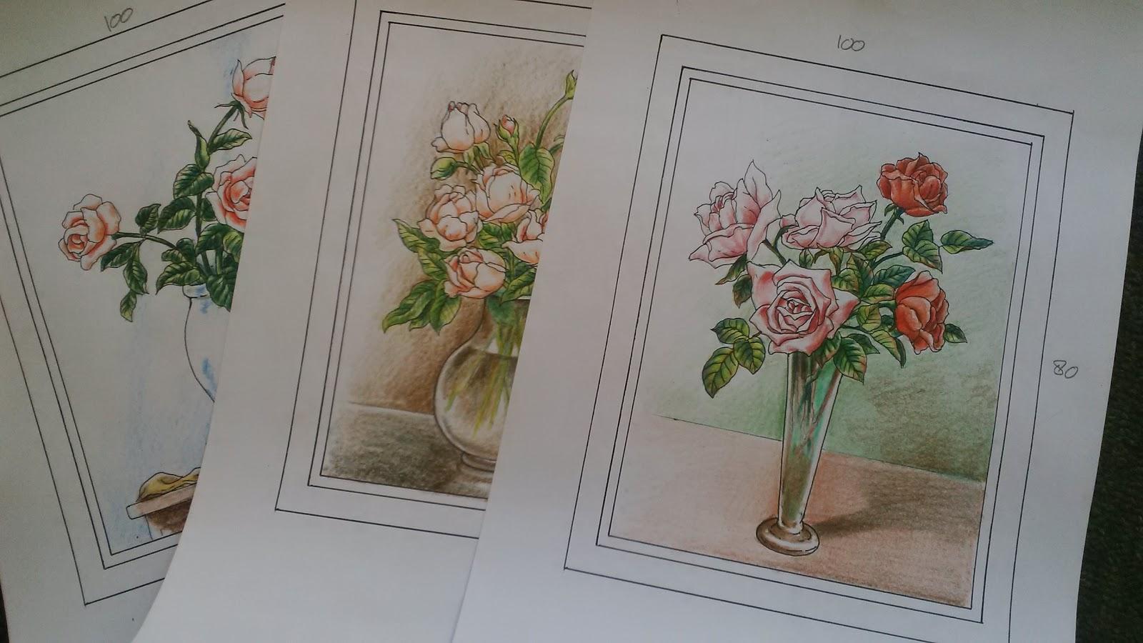 Sketsa Gambar Bunga Di Vas