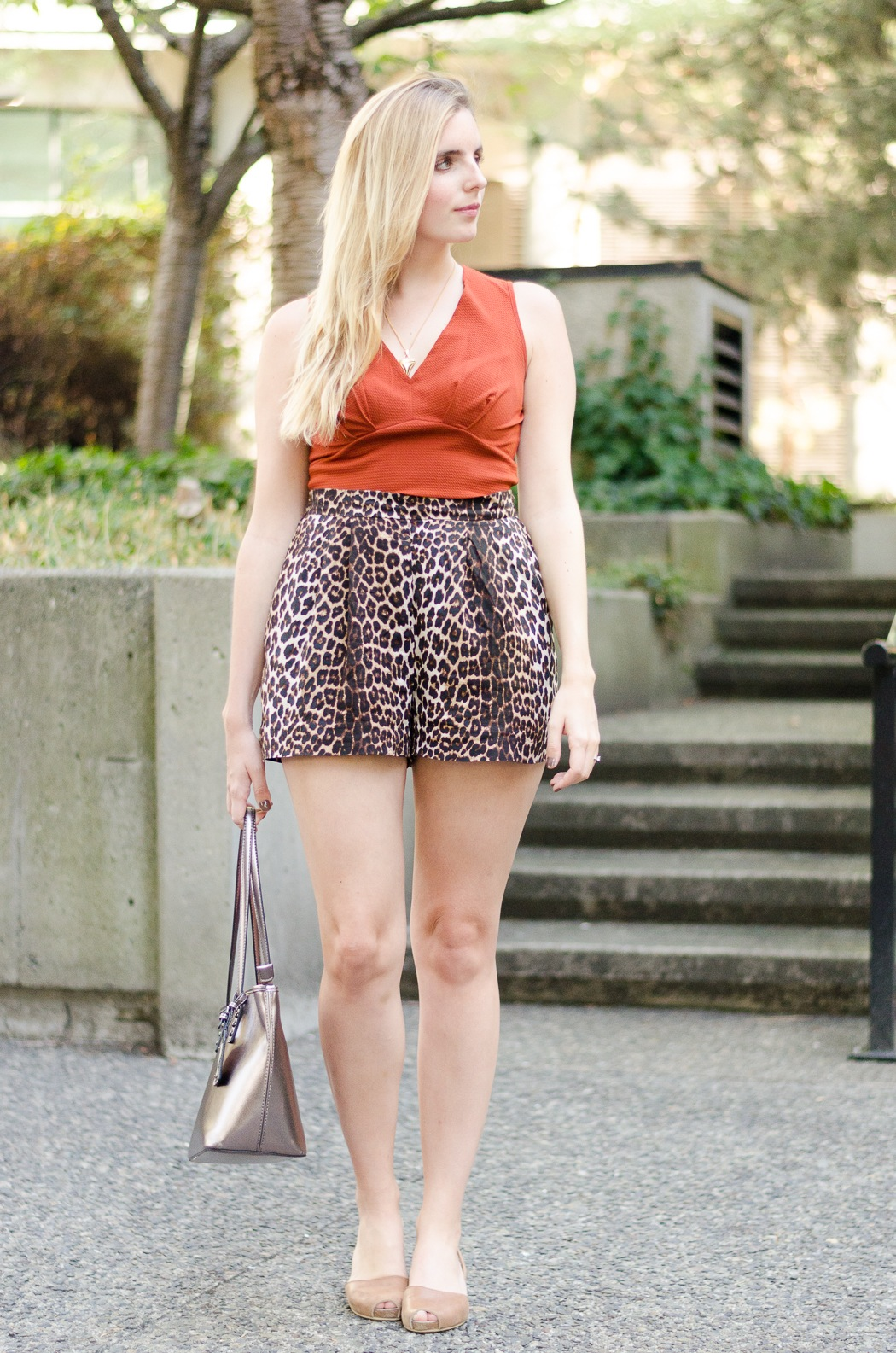 the urban umbrella style blog, vancouver style blog, vancouver fashion blog, vancouver lifestyle blog, vancouver health blog, vancouver fitness blog, vancouver travel blog, canadian faashion blog, canadian style blog, canadian lifestyle blog, canadian health blog, canadian fitness blog, canadian travel blog, bree aylwin, how to style high waist shorts, hm canada high waist shorts, leopard shorts, how to style a crop top, orange crop top, nobis and grey necklace, ella shoe sandals, aldo metallic handbag, cute summer outfit ideas, favourite winery vancouver, best lifestyle blogs, best fitness blogs, best health blogs, best travel blogs, top fashion blogs, top style blogs, top lifestyle blogs, top fitness blogs, top health blogs, top travel blogs