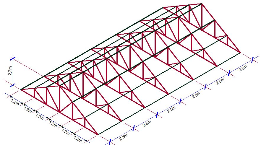the idealised 2d model of the roof truss typical loading configuration is as shown below - Metal Roof Trusses