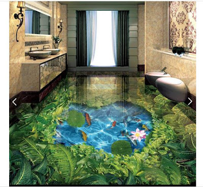 3d floor designing on tiles with small pond in the middle and meadow on the side with so much greenery and plants