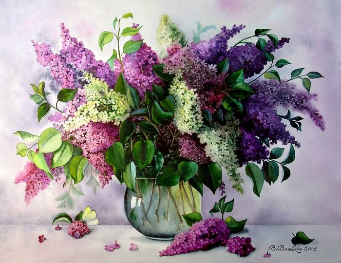 Акварельные рисунки цветов. Валентина Валевская 5