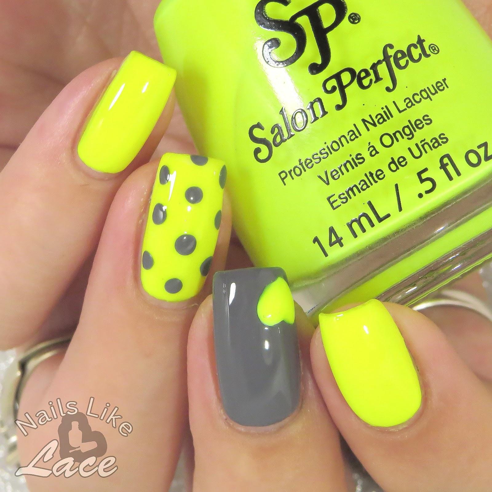 NailsLikeLace: Mommy\'s Mani Monday: Neon Yellow & Gray Dots and ...