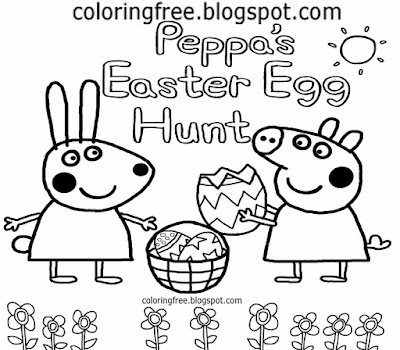 Simple bunny Easter egg hunt Rebecca Rabbit Peppa Pig coloring pages for school children to color in
