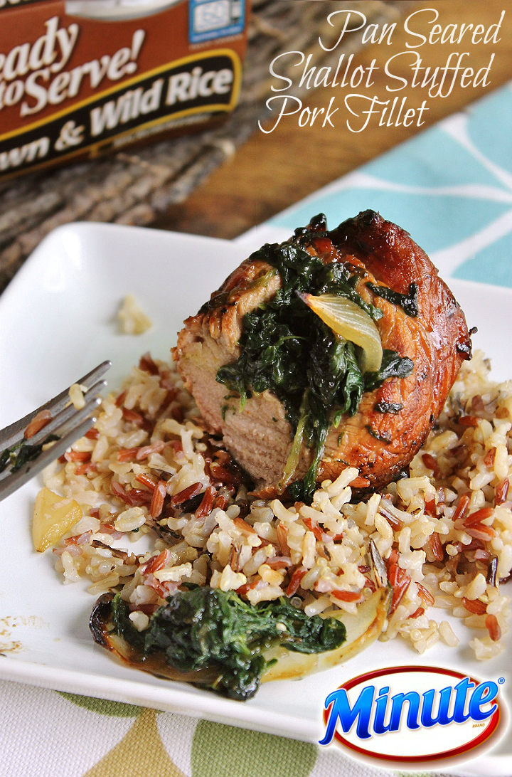 Pan Seared Shallot Stuffed Pork Fillet with Brown And Wild Rice #MixInMinute #ad